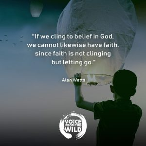 """If we cling to belief in God, we cannot likewise have faith, since faith is not clinging but letting go."" ~ Alan Watts"