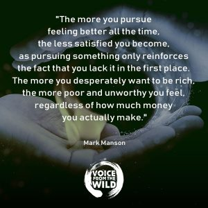 """The more you pursue feeling better all the time, the less satisfied you become, as pursuing something only reinforces the fact that you lack it in the first place. The more you desperately want to be rich, the more poor and unworthy you feel, regardless of how much money you actually make."" ~ Mark Manson #MarkManson #voicefromthewild"